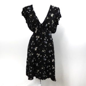 W12 American Eagle Black Floral Open Sides Dress L